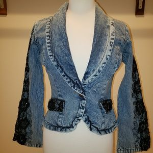 Jeanology Flared Lace Beaded Sleeves Jean Jacket